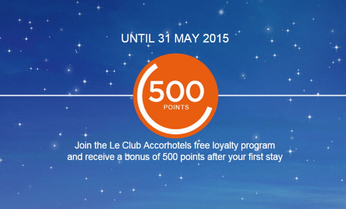 Le Club Accorhotels 500 Bonus Points For Joining & First Stay May 31 2015