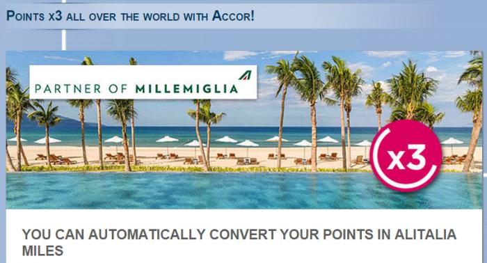Le Club Accorhotels Alitalia MilleMiglia Triple Miles Offer May 3 July 31 2015