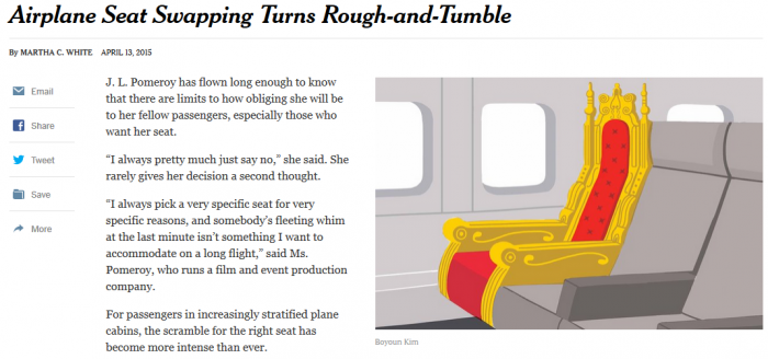 NYT Airplane Seat Swapping Turns Rough-and-Tumble