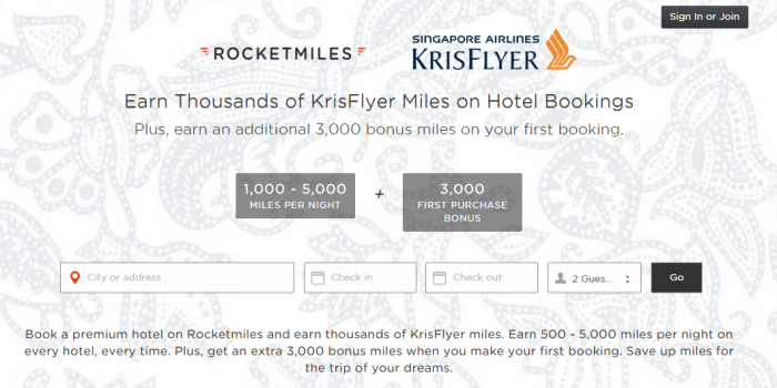 Rocketmiles Singapore Airlines Web