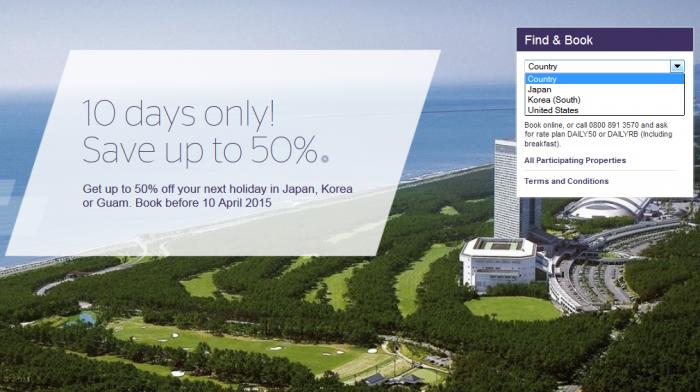 Starwood Japan Korea Guam Up To 50 Percent Off Sale April 1 - 27 2015