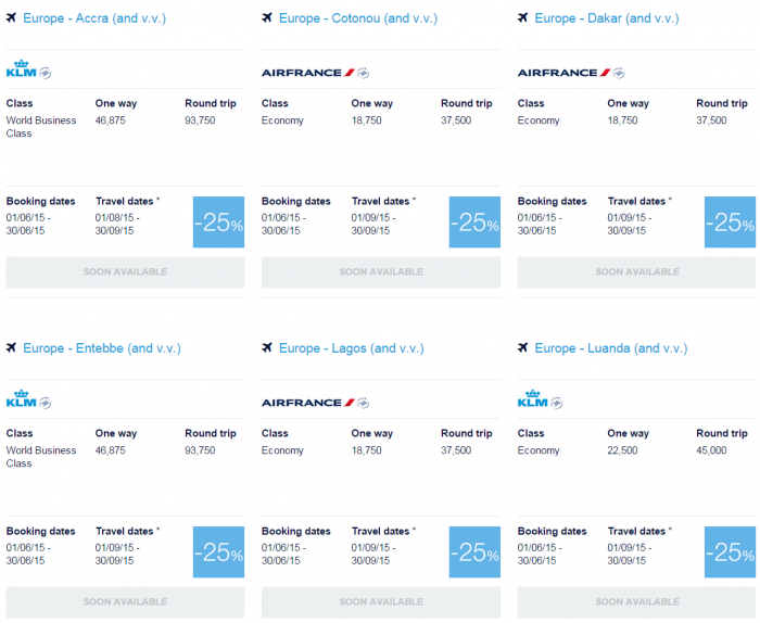 Air France-KLM Flying Blue June 2015 Promo Awards Africa 2
