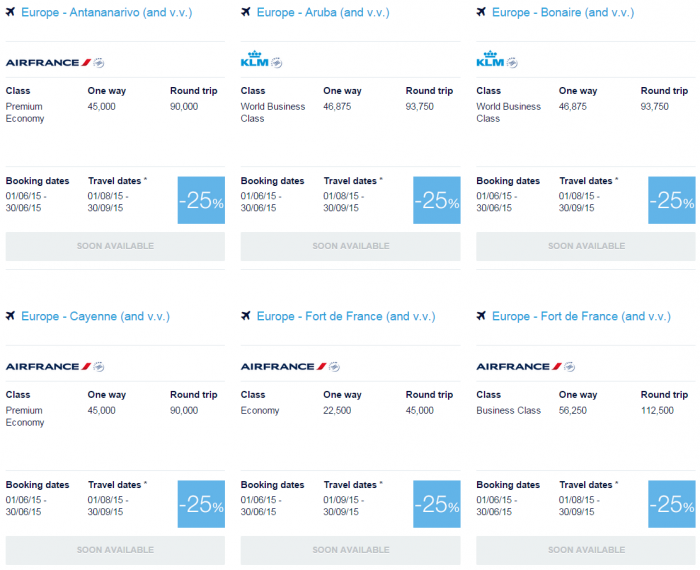 Air France-KLM Flying Blue June 2015 Promo Awards Caribbean & Indian Ocean 2