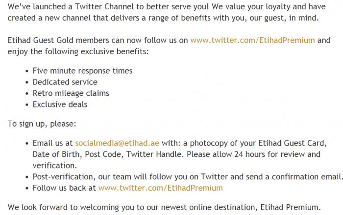 Etihad Airways Guest Premium Help Text