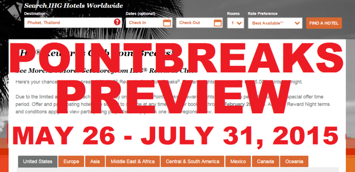 IHG Rewards PointBreaks Preview May 26 July 31 2015