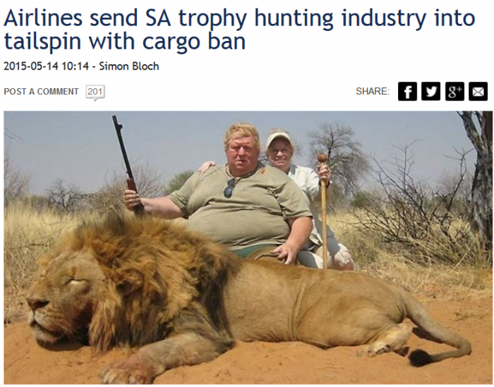 News24 Airlines send SA trophy hunting industry into tailspin with cargo ban