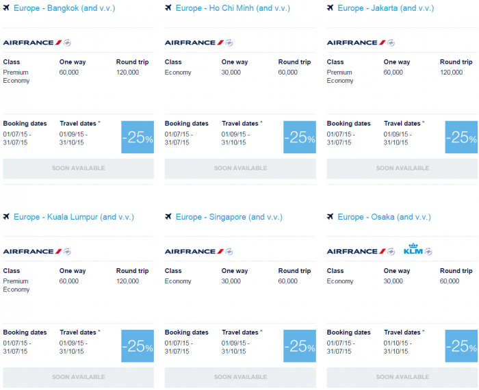 Air France-KLM Flying Blue July 2015 Promo Awards Asia Pacific 1