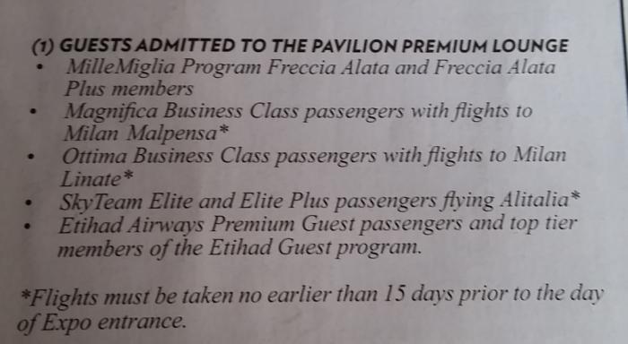 Alitalia & Etihad Premium Lounge Access Expo Milano 2015 Access
