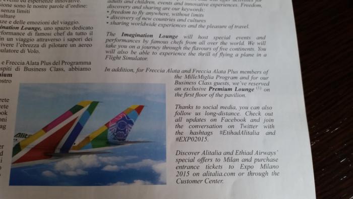 Alitalia & Etihad Premium Lounge Access Expo Milano 2015 Text
