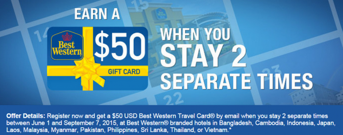 Best Western Rewards $50 Travel Card After Two Stays In Asia-Pacific June 1 September 30 2015