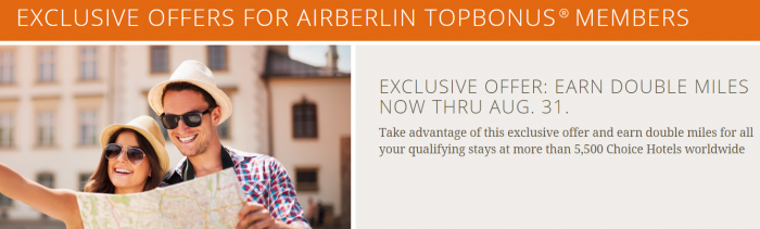 Choice Hotels Airberlin Double Miles June 1 August 31 2015