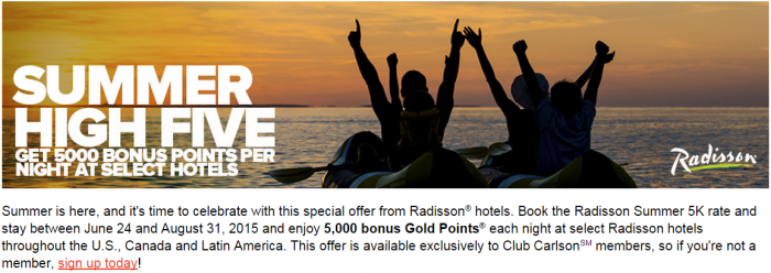 Club Carlson Radisson 5,000 Bonus Points Per Night June 24 August 31 2015