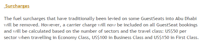 Etihad AIrways Etihad Guest Program Changes July 8 2015 Surcharges