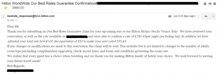 Hilton Best Rate Guarantee Hilton Molino Stucky Venice Best Rate Guarantee Response