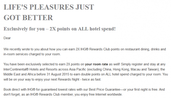 IHG Rewards Club Double Points Asia Pacific InterContinental Hotels May 6 August 31 2015 Text