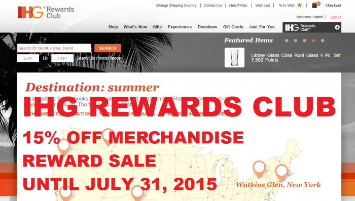 IHG Rewards Club Merchandise Rewards Sale Summer 2015 U