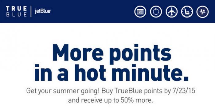 JetBlue TrueBlue Buy Points Up To 50 Percent Bonus Until July 23 2015