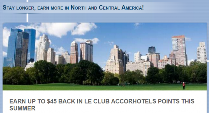 Le Club Accorhotels Up To 2000 Bonus Points Per Stay June 15 August 31 2015