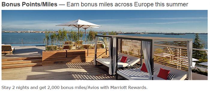 Marriott Rewards 2000 Bonus Avios Europe Summer 2015