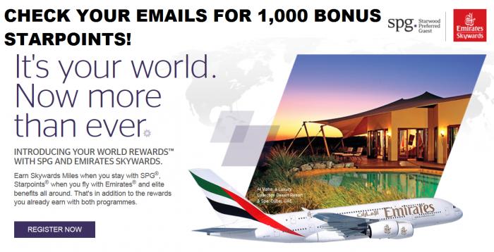 SPG Emirates Your World Rewards 1,000 Bonus Points For Linking Accounts