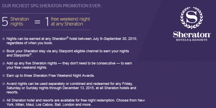 Sheraton Free Weekends Promotion Body