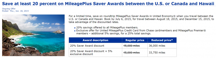 United Airlines Hawaii Award Discount