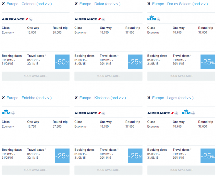 Air France-KLM Flying Blue Promo Awards August 2015 Africa 1