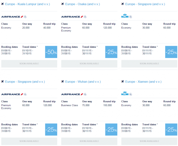 Air France-KLM Flying Blue Promo Awards August 2015 Asia Pacific 2