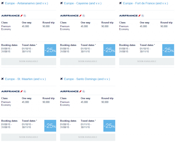 Air France-KLM Flying Blue Promo Awards August 2015 Caribbean & Indian Ocean 1