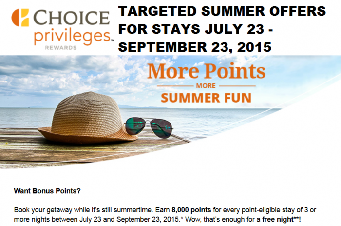 Choice Privileges Targeted Summer Offers July 23 - September 23 2015