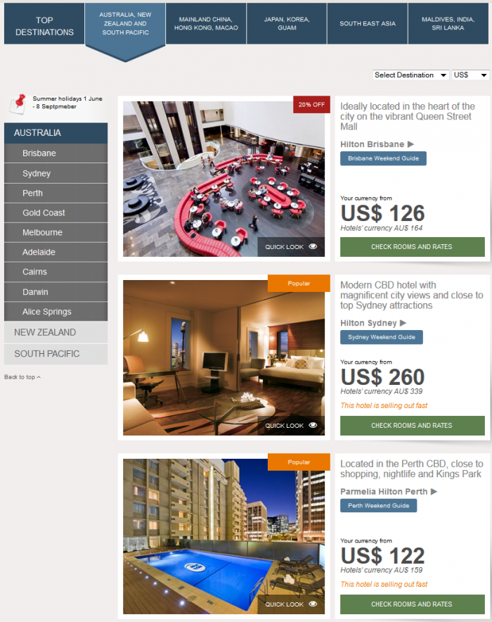 Hilton HHonors Asia Pacific Website Australia New Zealand South Pacific
