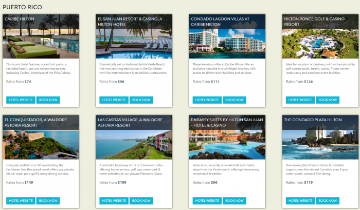 Hilton HHonors Caribbean Summer Sale Participating Hotels 2