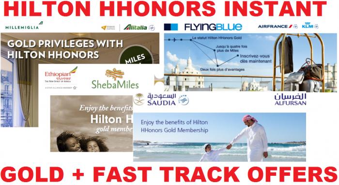 Hilton HHonors Gold + Fast Track Offer Ethiopian Alitalia Air France KLM Saudia