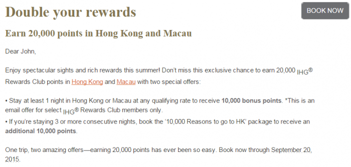 IHG Rewards Club Hong Kong 10,000 Bonus Points For A Stay July 22 - September 20 2015 Text