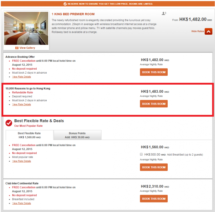 IHG Rewards Club Hong Kong 10,000 Bonus Points June 13 September 30 2015 GS IC 2