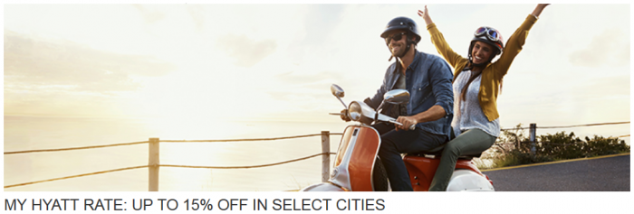 My Hyatt Rate 15 Percent Off Select Cities July 15 March 31 2016