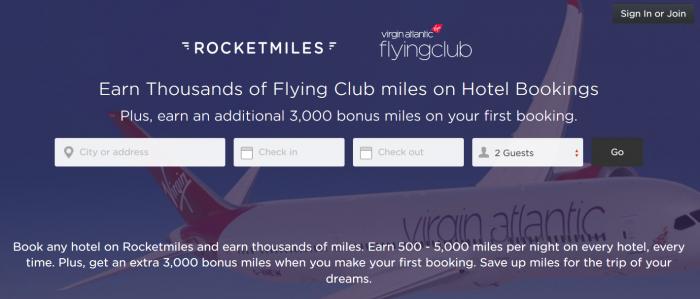 Rocketmiles Virgin Atlantic Flying Club 3,000 Bonus Miles July 31 2015