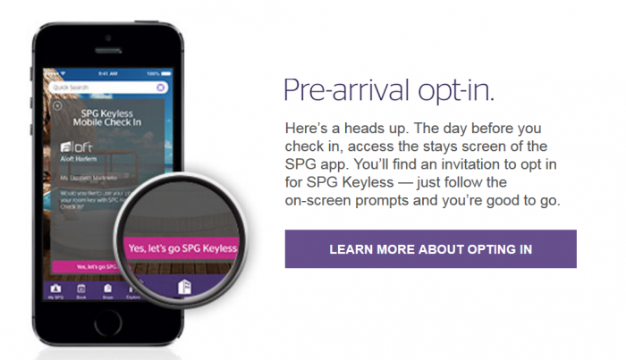 SPG Keyless Promotion Pre-arrival