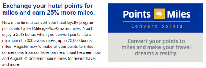 United Airlines Hotel Points To MileagePlus Miles Conversion Bonus July 31 August 31 2015 Text