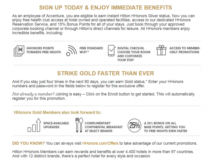 Hilton HHonors Accenture Instant Silver + Gold Fast Track Offer 2015 Benefits