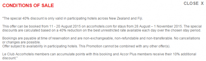 Le Club Accorhotels August 2015 Private Sales New Zealand & Fiji Conditions