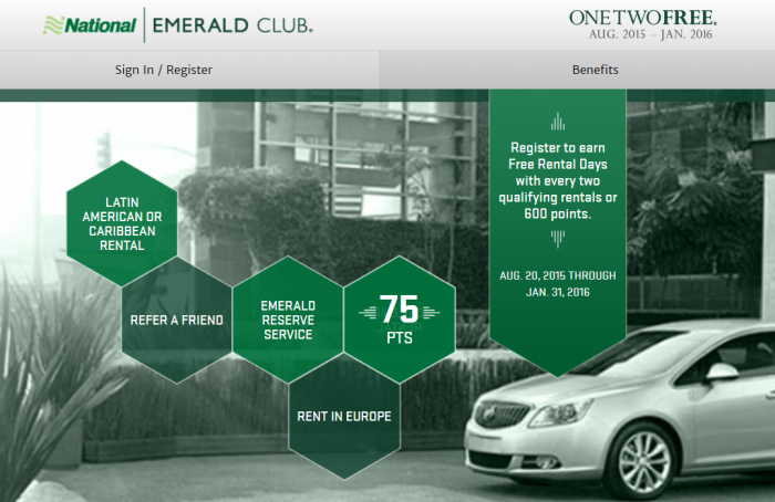 National Car Rental One Two Free Promotion August 20 January 31