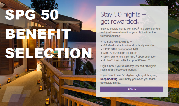 SPG 50 Benefit Selection
