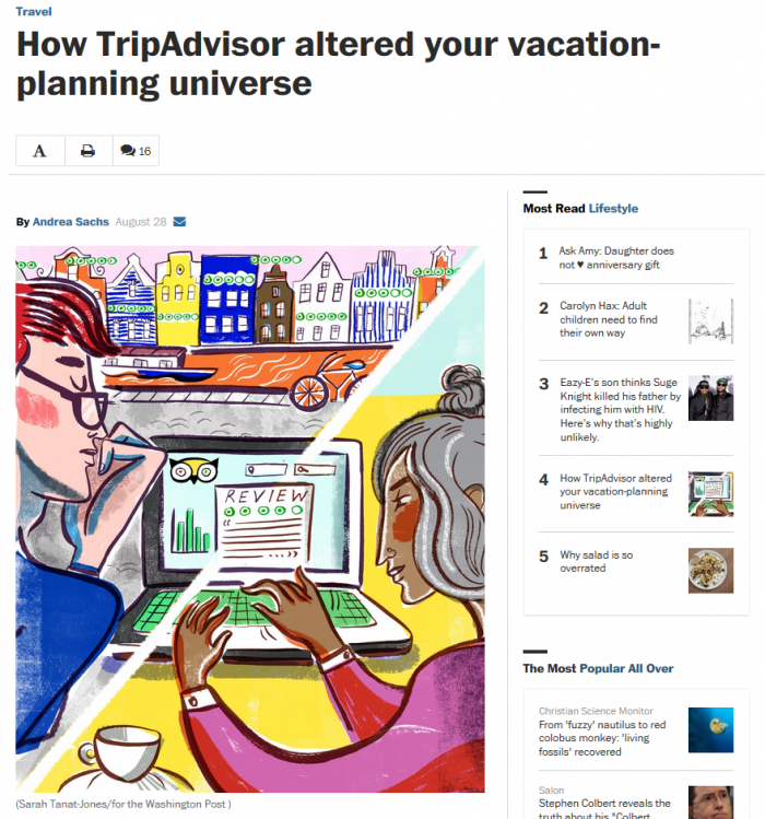 Washington Post How TripAdvisor altered your vacation-planning universe