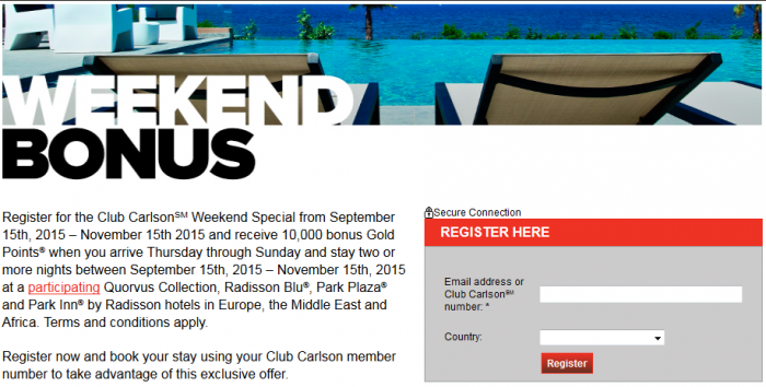 Club Carlson Weekend Stay 10,000 Bonus Points September 15 - November 15 2015