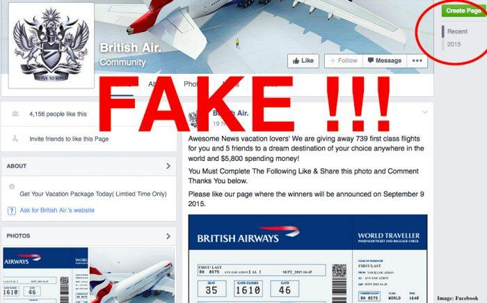 Fake BA Page