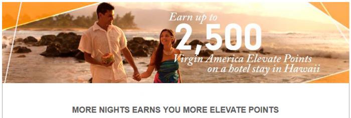 Hilton HHonors Virgin America Elevate Hawaii Bonus Miles Offer November 2 - March 16 2016
