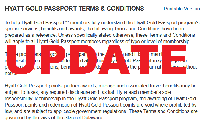 Hyatt Gold Passport Terms & Conditions Update September 25 2015