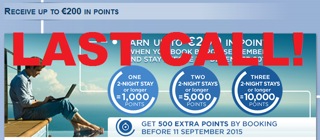 LAST CALL Le Club Accorhotels 10000 Points Three Stays September 9 December 31 2015