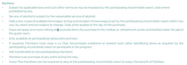 Le Club Accorhotels MyResorts Benefits MyGlass T&Cs